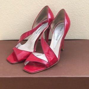 Emporio Armani Red Patent Leather Peep-Toe